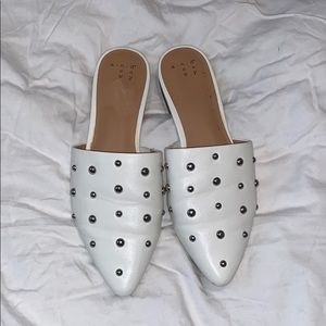 Shoes - White slides with studs